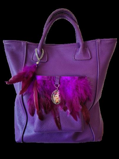 Tote Bag - Poche plumes et  Broche Frida Khalo - Cuir vachette véritable
