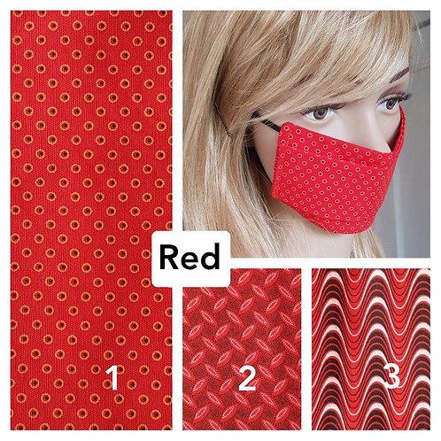 Masque-barrière à plis ShweShwe print 100% coton - red
