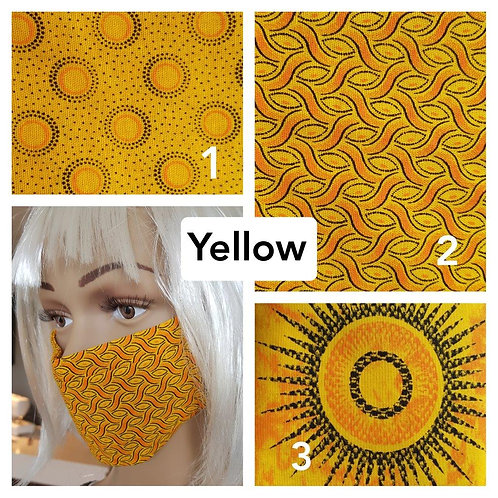Masque-barrière à plis ShweShwe print 100% coton - yellow