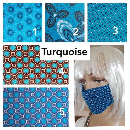 Masque-barrière à plis ShweShwe print 100% coton - blue/turquoise