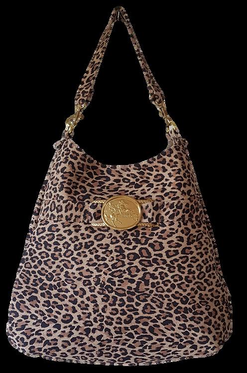 LEOPARD HOBO BAG - suede leather