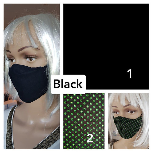 Masque-barrière à plis ShweShwe print 100% coton black