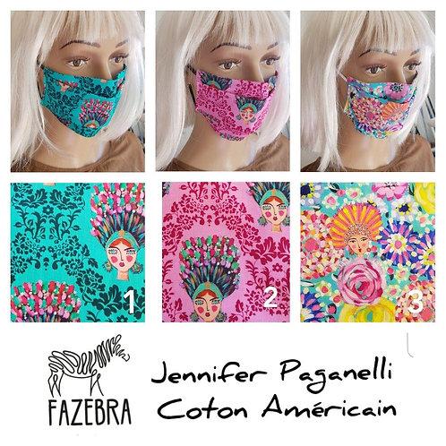 Masque-barrière à plis - coton américain - Jennifer Paganelli design