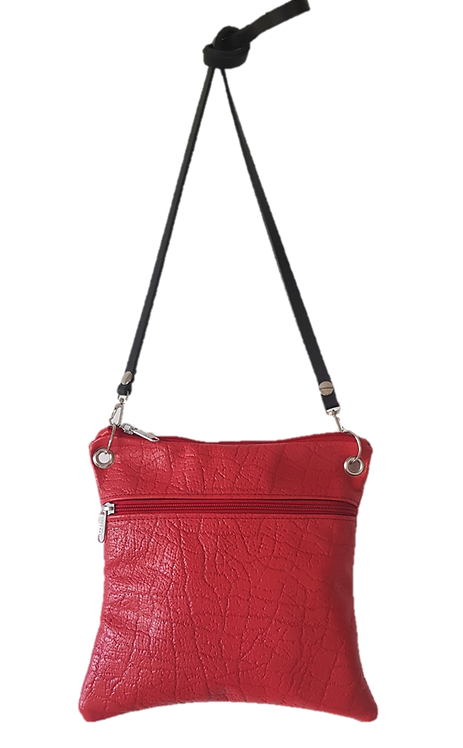 PILLOW CLUTCH MIDI - RED - Genuine leather