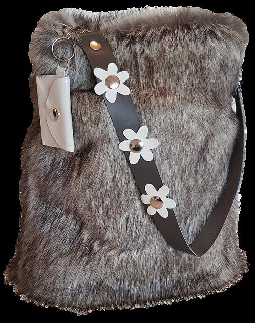 SMILLA - Silver Fox - Bucket bag - Eco fur + genuine Leather