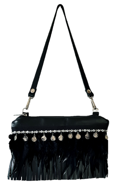 COLLECTION LES FRANGES - Mini Bag - Noir
