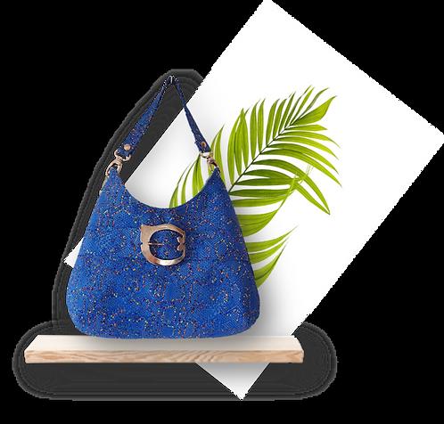 HOBO BAG MIDI Bleu fantaisie - cuir véritable