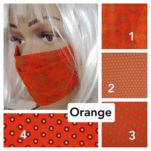 Masque-barrière à plis ShweShwe print 100% coton - orange
