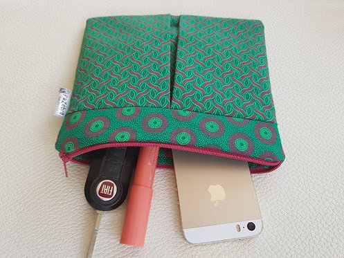 ROXANNE POUCH - SHWESHWE green and pink patterns