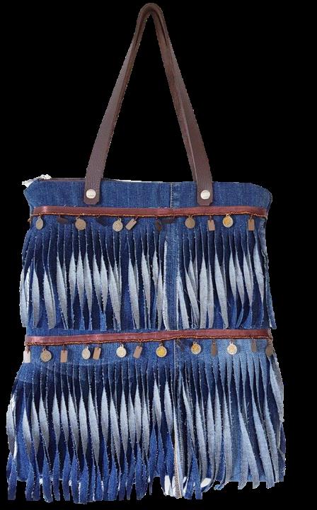 FJ - Shoulder Bag with denim fringe trims