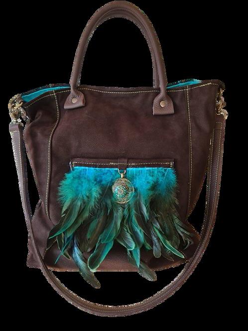 Tote Bag - Poche plumes et  Médaillon ethnique - Cuir véritable