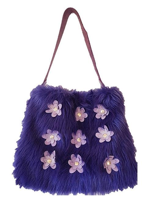 SMILLA - Purple Yeti - Tote bag with flowers - Eco fur + genuine Leather