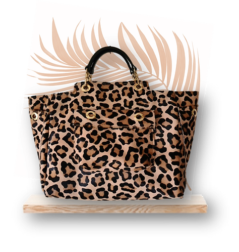 Maxi Tote Bag - Leopard Hair Calfskin - Genuine leather