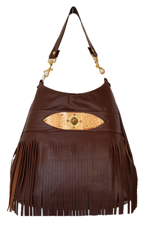 HOBO BAG MAXI - Brown - Genuine leather