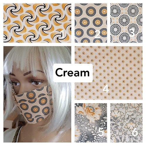 Masque-barrière à plis ShweShwe print 100% coton - beige/cream