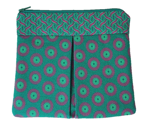 ROXANNE POUCH - SHWESHWE GREEN/PINK