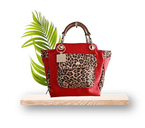 Mini Tote Bag - Red embossed sheepskin / Leopard Print - Genuine leather
