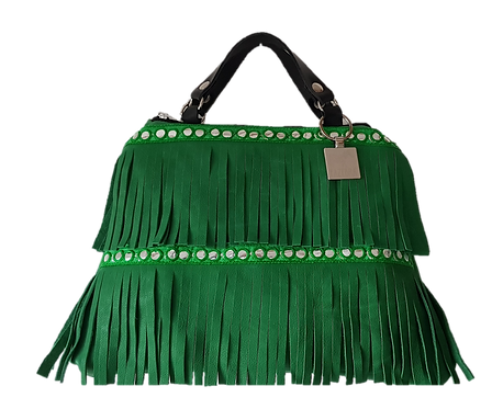 LES FRANGES - Trapeze handbag - MIDI - green genuine leather