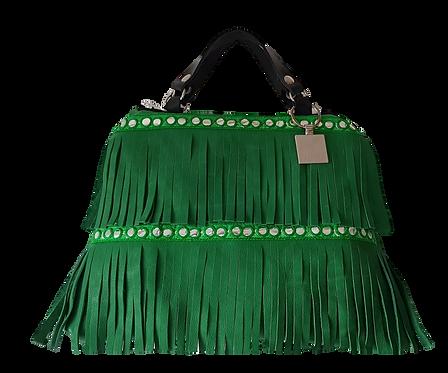 LES FRANGES - Trapeze handbag - MIDI - green genuine leather