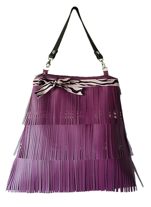 LES FRANGES - Trapeze handbag - purple