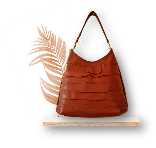 COLLECTION ÉCORCE - HOBO BAG MAXI - Cinnamon brown - Genuine leather
