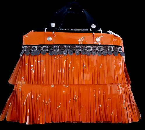 LES FRANGES - Trapeze handbag - MIDI - orange genuine leather