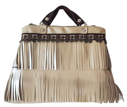 LES FRANGES - Trapeze handbag - MIDI - beige genuine leather