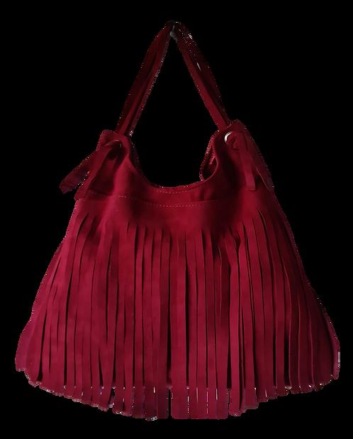 Fringe Shoulder Bag - ESPRIT SQUAW - Burgundy red