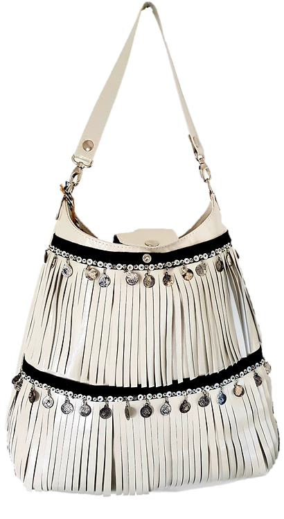 LES FRANGES - HOBO BAG MAXI  - White genuine leather