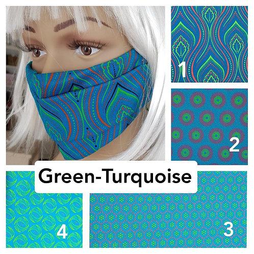 Masque-barrière à plis ShweShwe print 100% coton - green/turquoise
