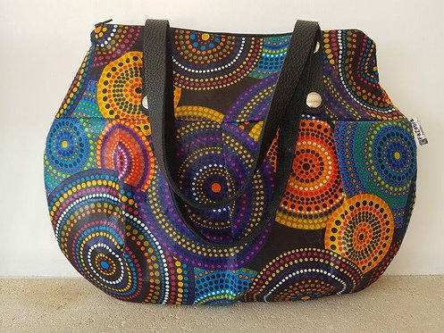 JENNA BAG - WAX FABRIC - BLUE CIRCLES