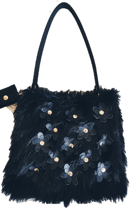 SMILLA - Black Yeti - Tote bag with flowers - Eco fur + genuine Leather