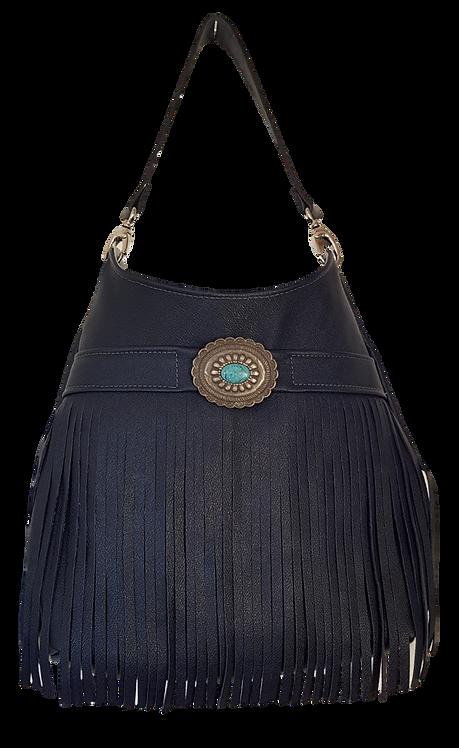LES FRANGES HOBO BAG MAXI - Navy Blue leather