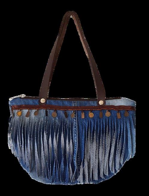 FJ - Halfmoon bag with denim fringe trim