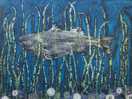 "Striped Bass II Gaspereau 36""x46"" 2019"