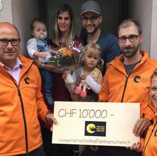 Erste Auszahlung an Familie Kunz vom 8. Juni 2020