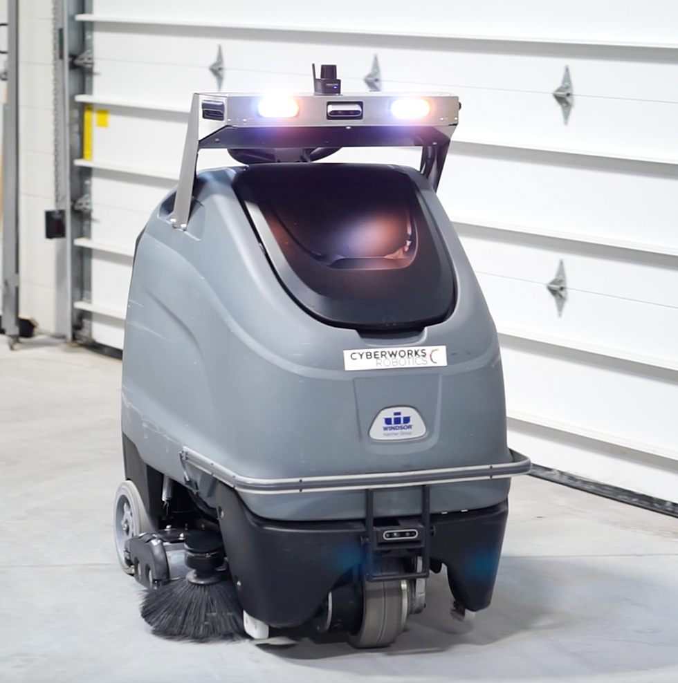 Autonomous and Self-Driving Industrial Floor Cleaning Robot