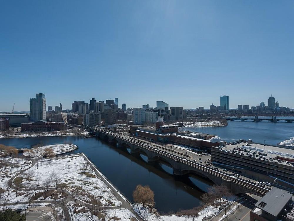view of boston skyline from cambridge
