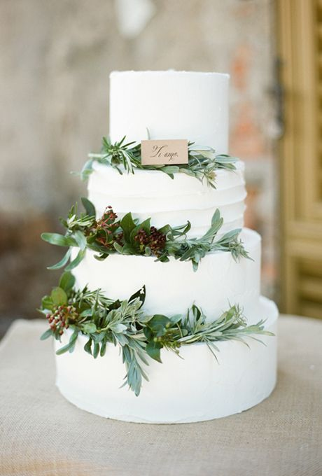 White Buttercream Cake with Greenery