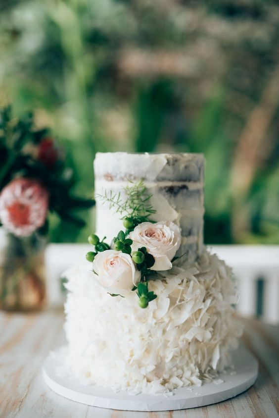 Adorable Coconut Wedding Cake
