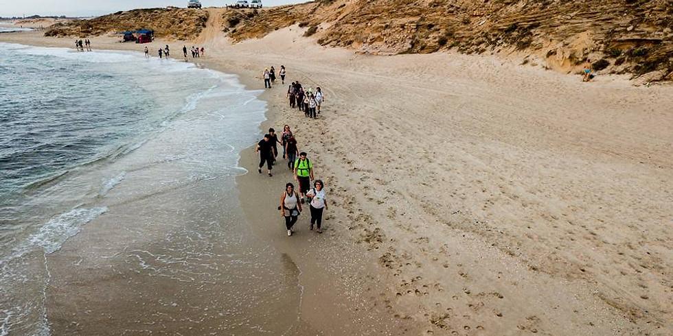 """טיול חוף של אחה""""צ לתוך השקיעה -  מבית חנניה לקסריה"""