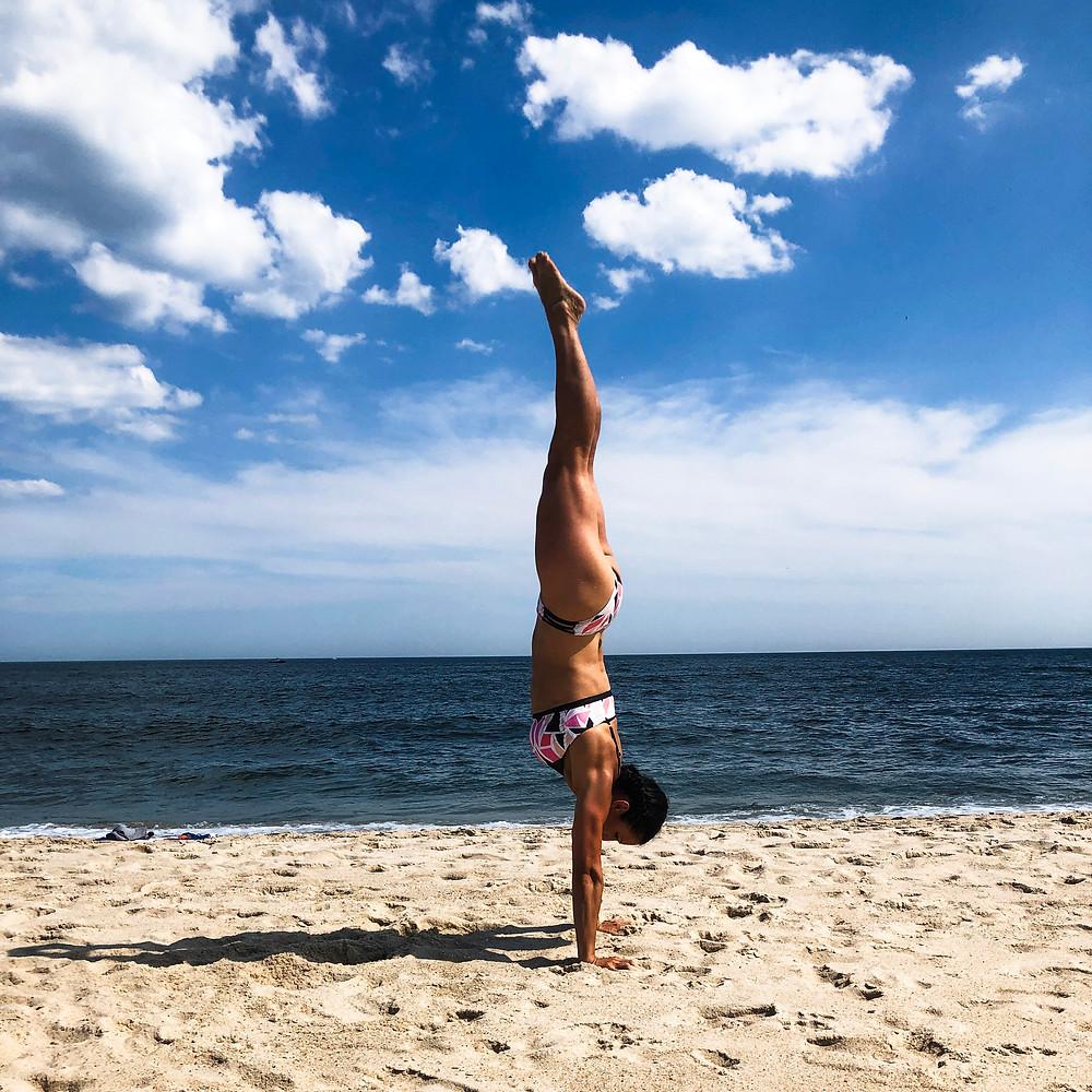 handstand beach balance strong