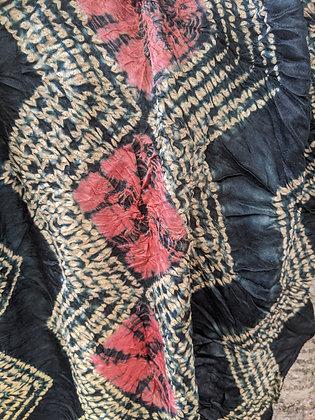 Shibori - Ajrakh Scarf - zig-zag stitched design with light rust / coral kumo