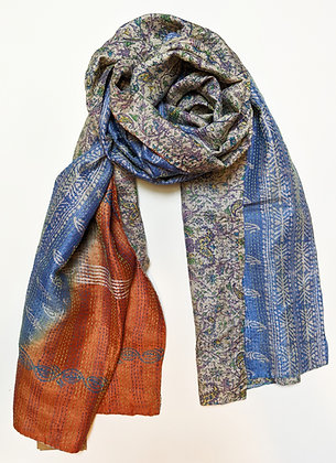 "upcycled silk sari ""kantha"" scarf - powder blue, orange, paisley print"