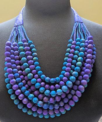12-strand silk sari necklace - blue and purple