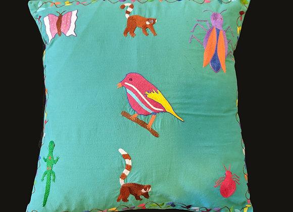 Embroidered Cushion - Flora and Fauna