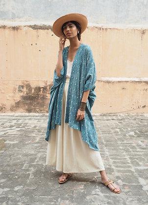 """Wild Tussar Silk """"kantha"""" embroidered robe: blue floral"""