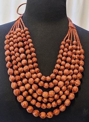 upcycled 6-strand silk sari necklace - chocolate print
