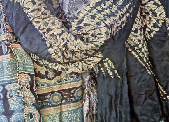 Shibori - Ajrakh Scarf - zig-zag stitched design with grey kumo