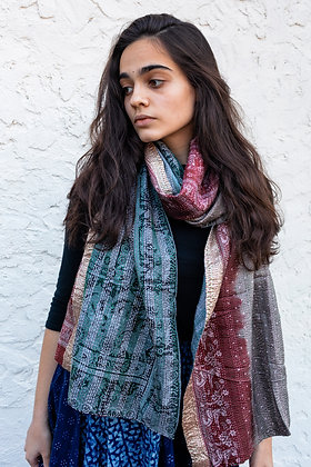 """upcycled silk sari """"kantha"""" scarf -wine & grey with pale green print"""